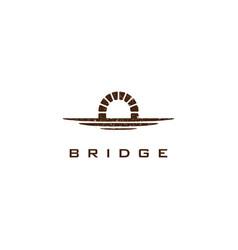 simple canal logo waterway brick bridge logo vector image