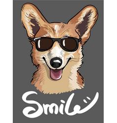stylish print of welsh corgi dog wearing vector image