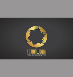 teamwork business gold hands logo design vector image