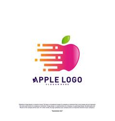 Tech apple logo design concept fast apple vector