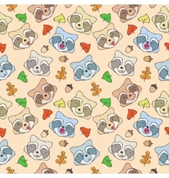 The pattern of forest raccoons vector image
