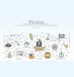 thin line art pirates poster banner vector image