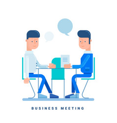 two businessmen talk at the table business vector image