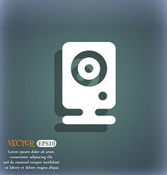 Web cam icon symbol on the blue-green abstract vector image