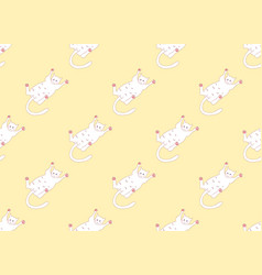 white cute cat laying on back seamless yellow vector image