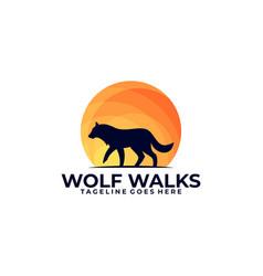 Wolf walks in sunset design template vector