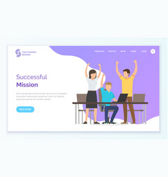 workers rising hands successful mission vector image
