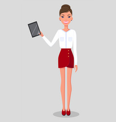 Young slender woman stands with tablet female in vector