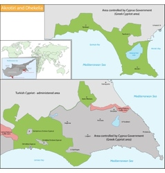 Akrotiri and Dhekelia map vector image