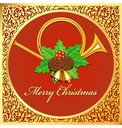 background Christmas card with horns bells leaves vector image vector image