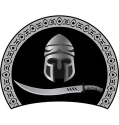 medieval helmet with sword vector image vector image