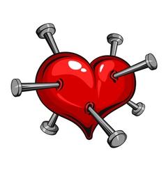 tattoo nail heart vector image vector image