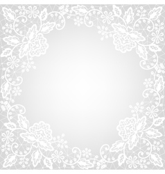 White lace on gray background vector