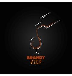 brandy glass bottle splash design background vector image vector image