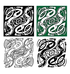 Celtic dragons with tribal entwined wings vector image vector image