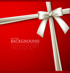 elegant red background with white bow vector image vector image
