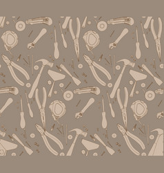 hand drawn construction tools pattern vector image