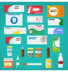 Medicine pills capsules and bottles isolated on vector image
