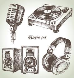 Music set hand drawn of dj icons vector