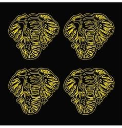 Pattern elephant head outline black background vector