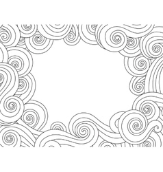 Abstract hand drawn frame border with outline sea vector image