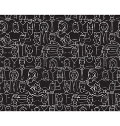 Black and White People Seamless Background Pattern vector image vector image