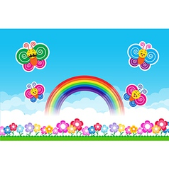Butterfly Rainbow on Nature background with green vector image