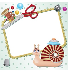 Frame with snail the seamstress with scissors a vector