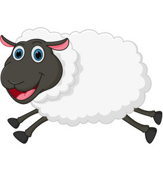 happy sheep jumping vector image