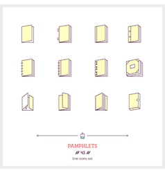 Pamphlets line icons set vector