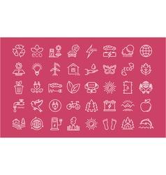 Set flat line icons eco and bio vector