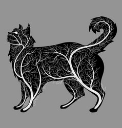silhouette of a cat with a bush texture vector image