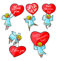 Valentines day angels set with cute hand drawn vector