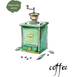 Antique coffee grinder and coffee beans with vector