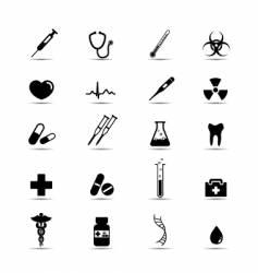 black and white medical icons vector image vector image