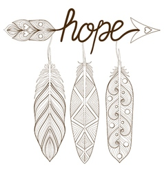 Bohemian Arrow Hand drawn Amulet letters Hope with vector image