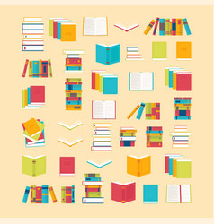 book icons set in flat style for your design vector image