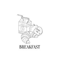 Breakfast With Milk Croissant And Apple Hand vector image