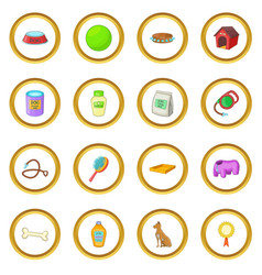 dog care icons circle vector image vector image