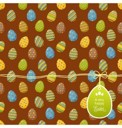 Easter pattern with egg label vector image vector image