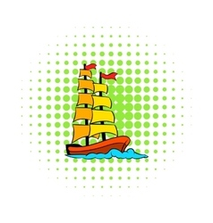 Old sailing ship icon comics style vector image