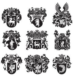 set of heraldic silhouettes No5 vector image vector image