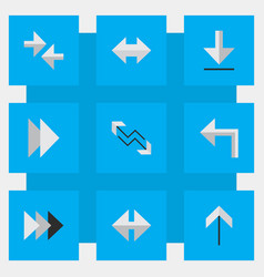 set of simple arrows icons vector image