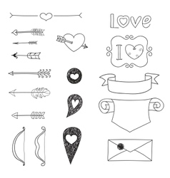 Set Wedding and Valentines Day doodles vector image vector image