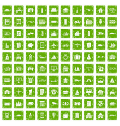 100 property icons set grunge green vector image