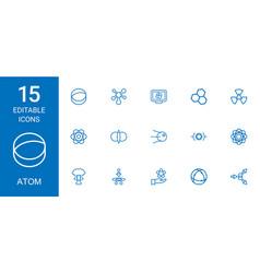 15 atom icons vector image
