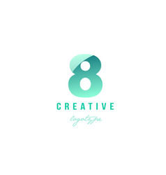 8 eight green pastel gradient number numeral vector