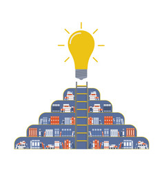 a bookcase with books and a light bulb at the top vector image