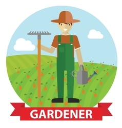 an happy Gardener standing vector image
