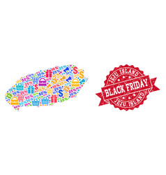 black friday composition of mosaic map of korean vector image